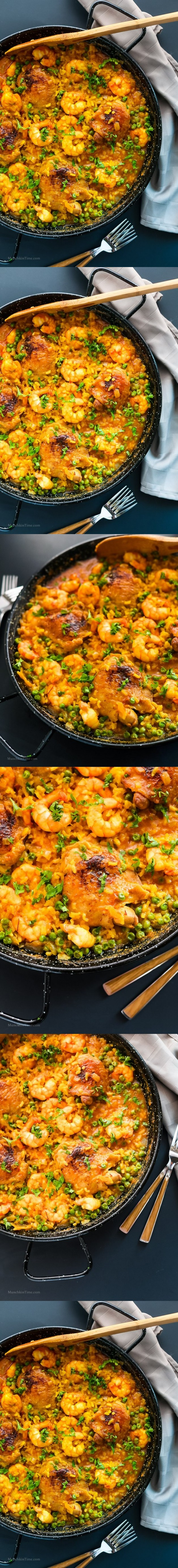 Chicken Thighs And Shrimp Paella Recipe Munchkin Time