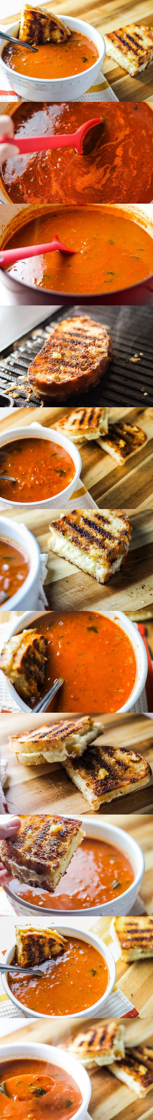 Grilled Cheese Sandwiches and Rustic Tomato Basil Soup