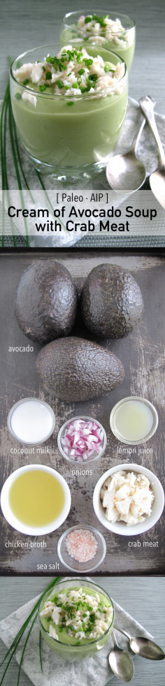 AIP / Paleo Cream of Avocado Soup with Crab Meat | A Squirrel in the Kitchen