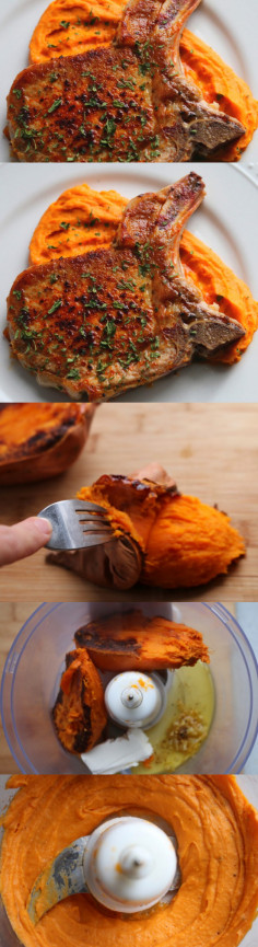 Brined Pork Chop with Sweet potatoes - Grab Some Joy