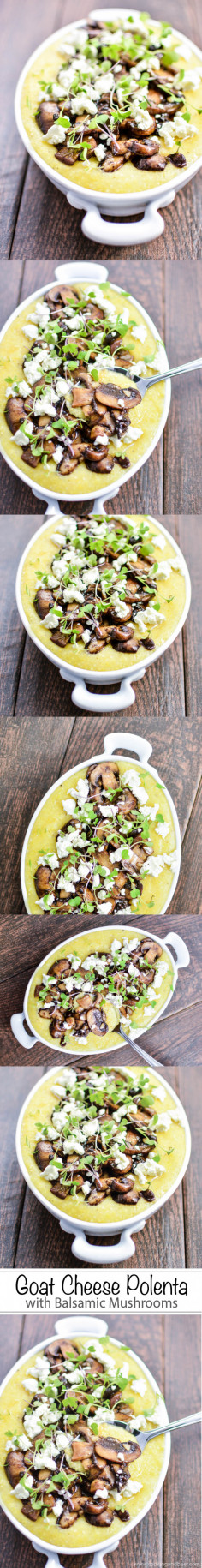 Goat Cheese Polenta with Balsamic Mushrooms