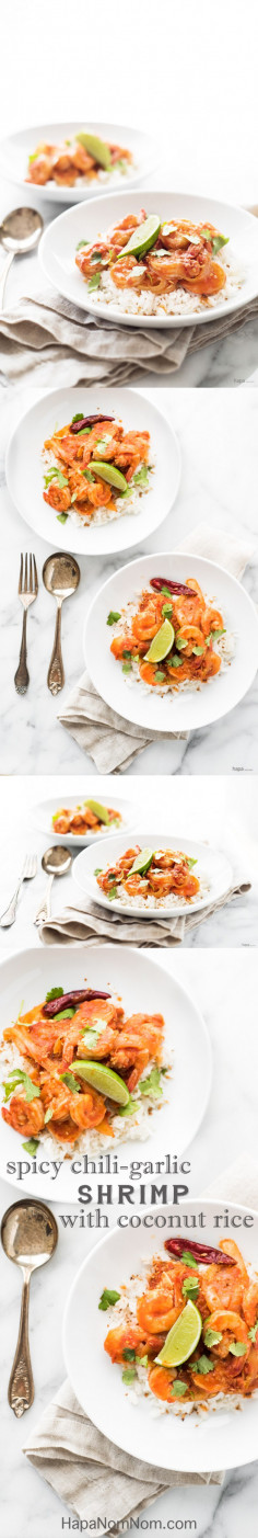 Spicy Chili Garlic Shrimp with Coconut Rice -
